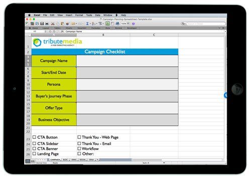 inbound marketing campaign planning spreadsheet