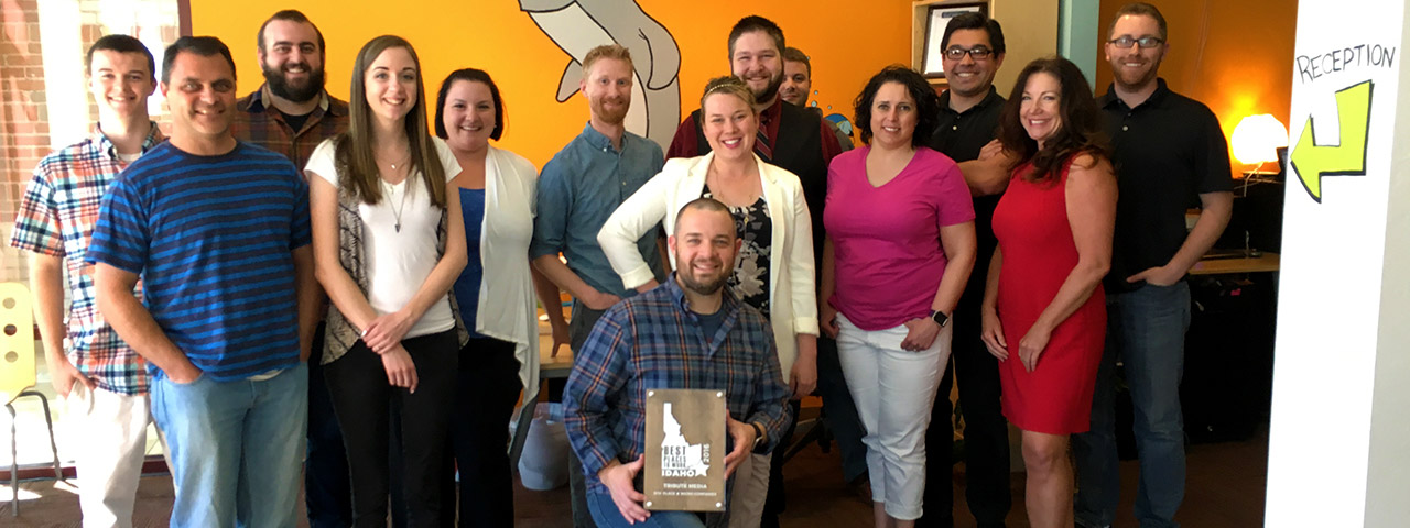 Tribute Media team with best places to work award