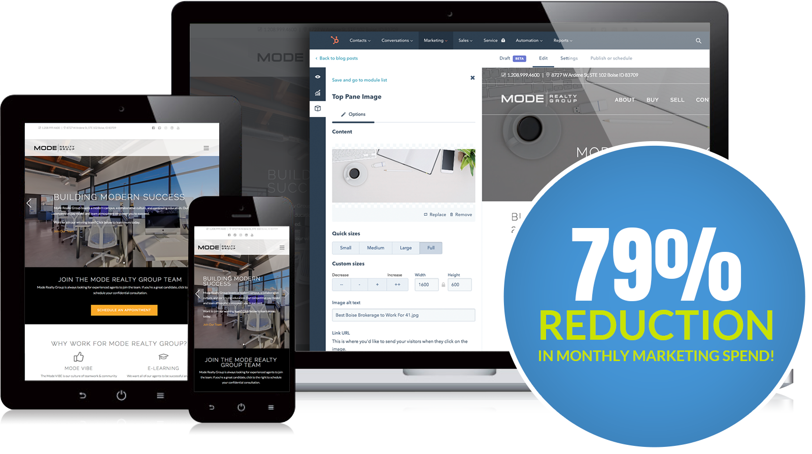 Mode Realty Site and Hubspot Dashboard Screenshots