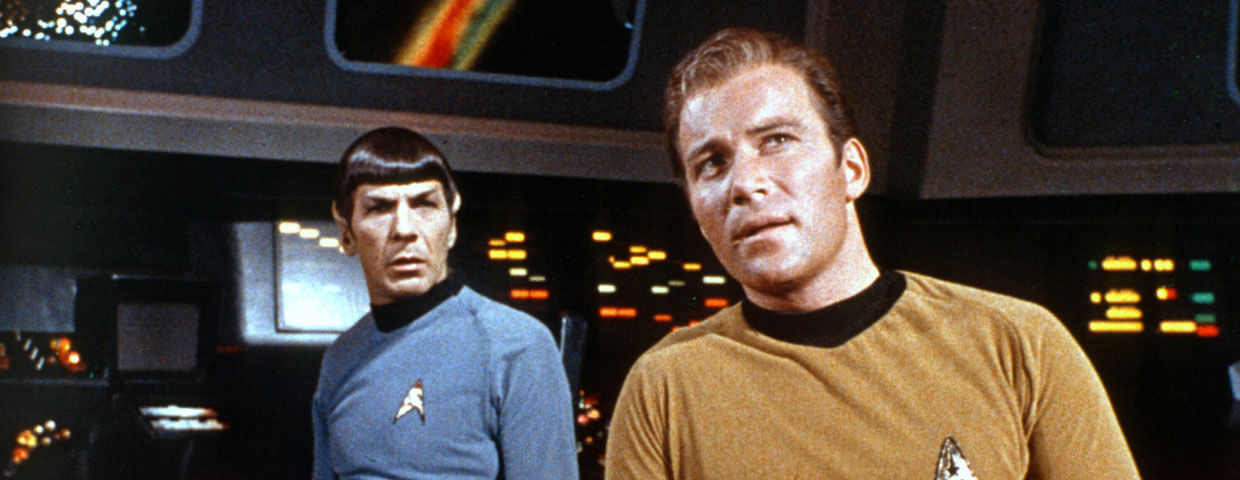 Kirk and Spock looking out