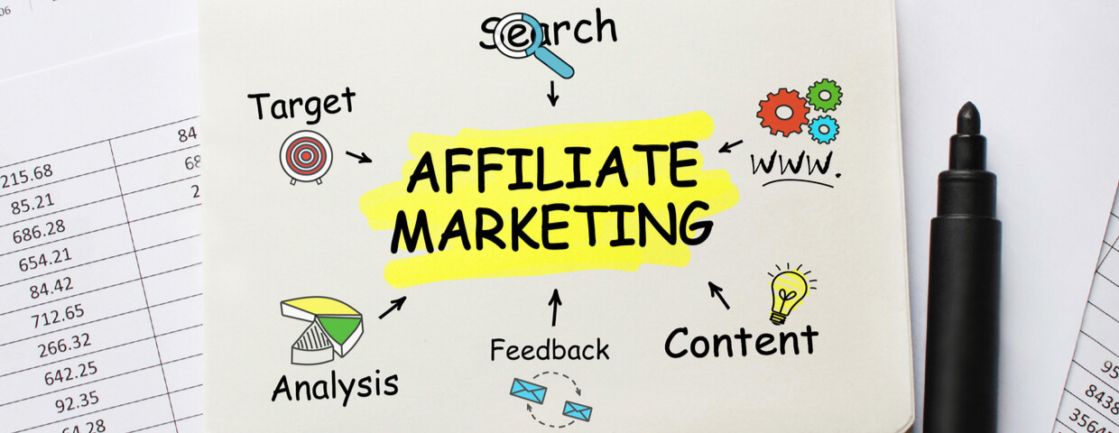 Notebook with tools and notes about Affiliate Marketing