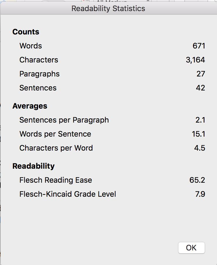 Get readability statistics