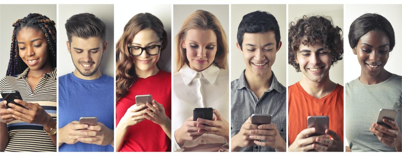 social media users on phones