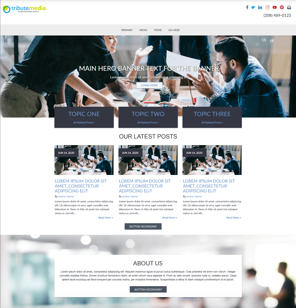 Blog template home